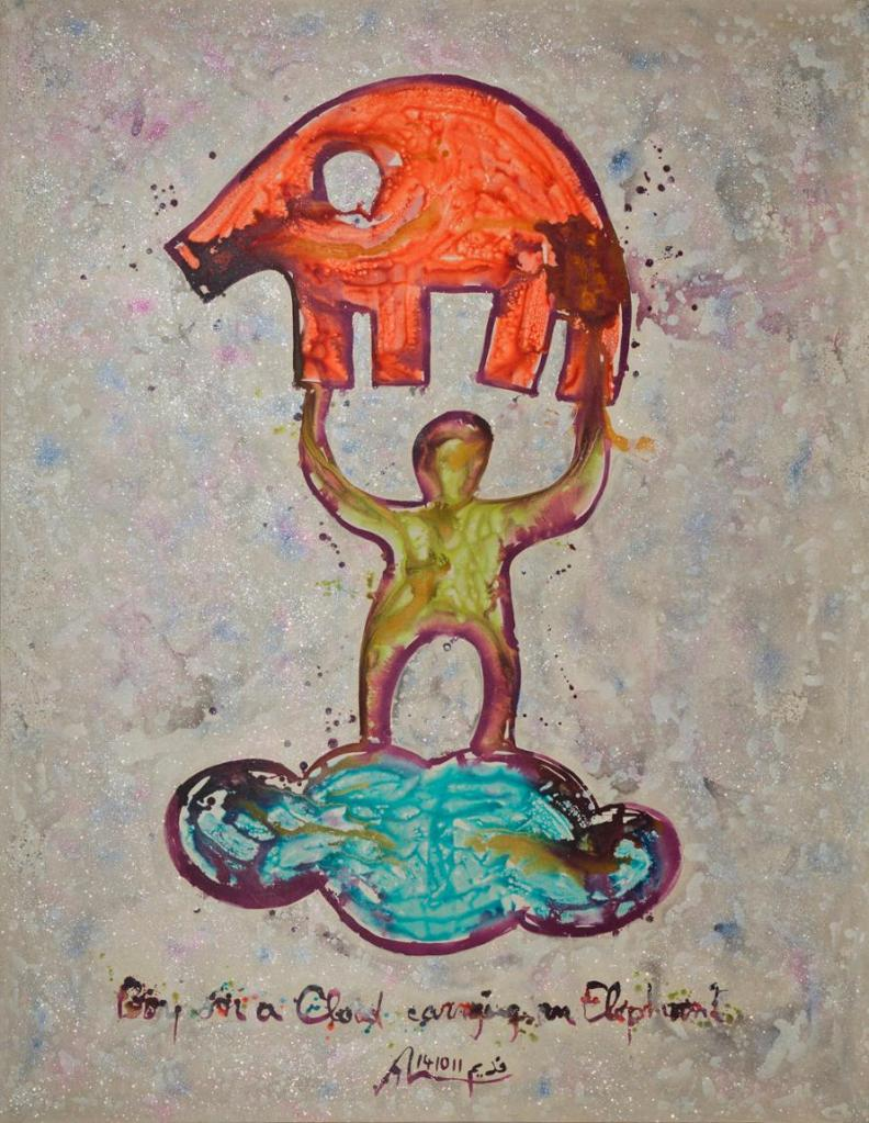 Nadim Karam 'Boy on a Cloud Carrying an Elephant' Mixed Media on Canvas, 300 X 200 cm. 2012