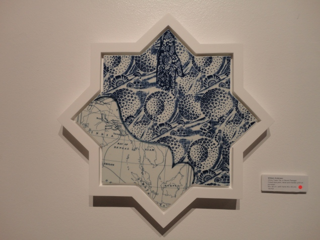 William Anderson 'China Trade Tile: A Secret Passage'. Medium: cobalt blue paint, decal and transfer print on porcelain.