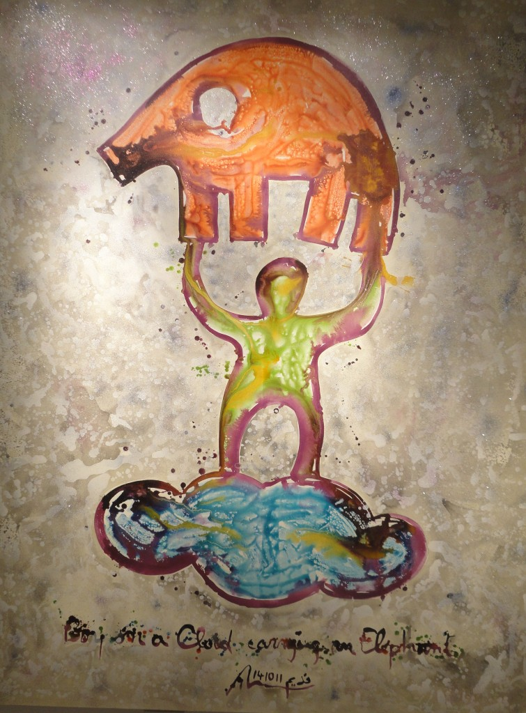 Nadim Karam 'Boy on a Cloud Carrying an Elephant' 300 X 200 cm. Mixed Media on Canvas, 2012