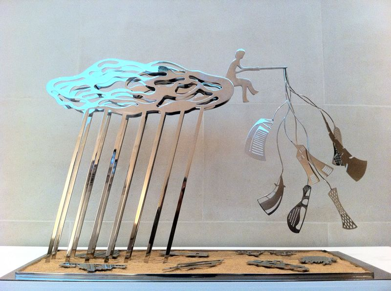 Nadim Karam 'The Cloud Th Fisherma and the Mutating Cities' Stainless Steel and Stand. 2012.