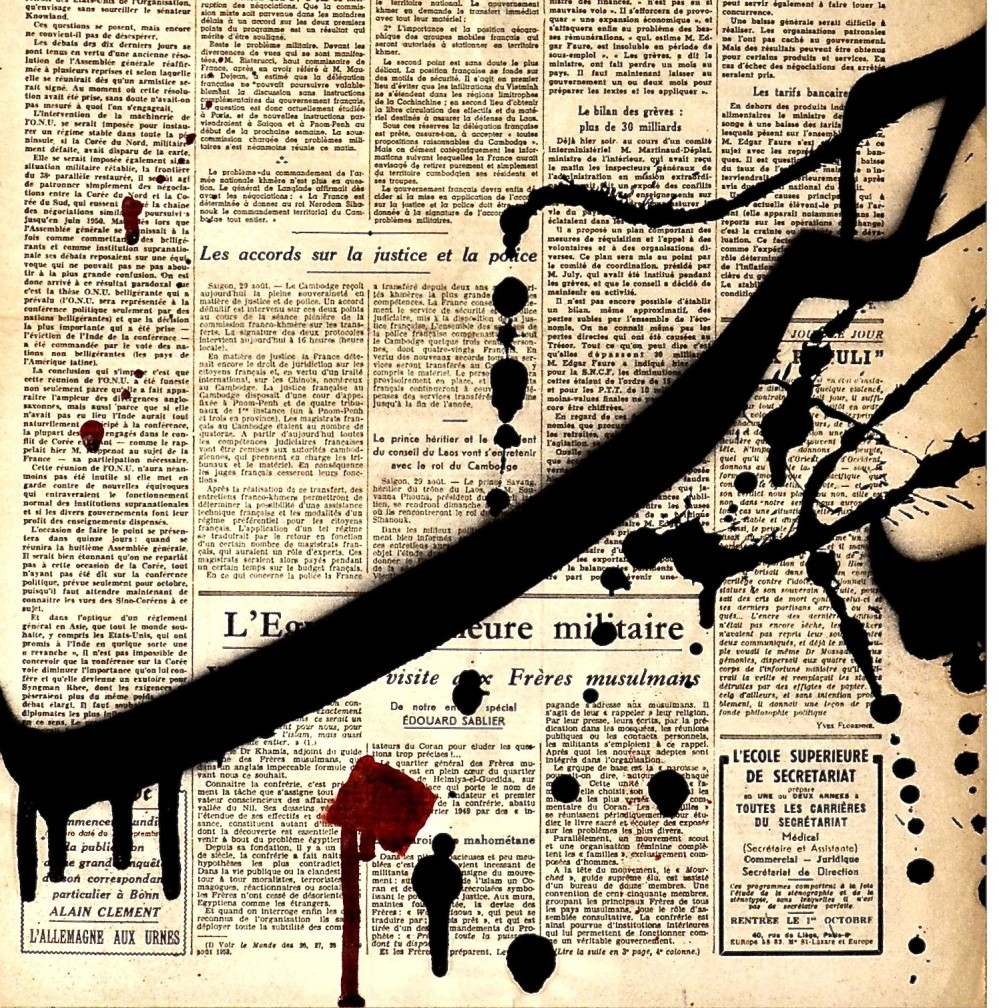 Mohammed Al Kouh 'Hob' Calligraphy, Acrylic & Spray Paint on Vintage Newspaper, 48x61 cm, 2013