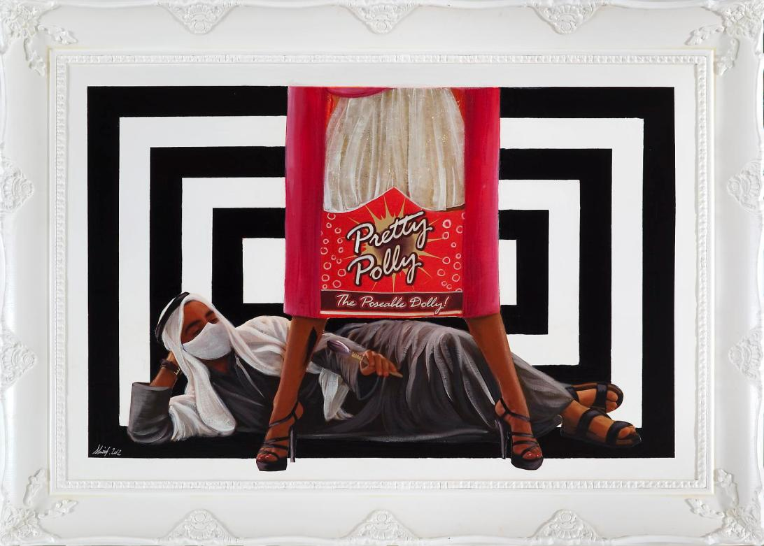 'An Arabian Tragedy' Acrylic Painting and Photography on Canvas Mounted on Wood and Framed, 128 x 179 cm. 2012.