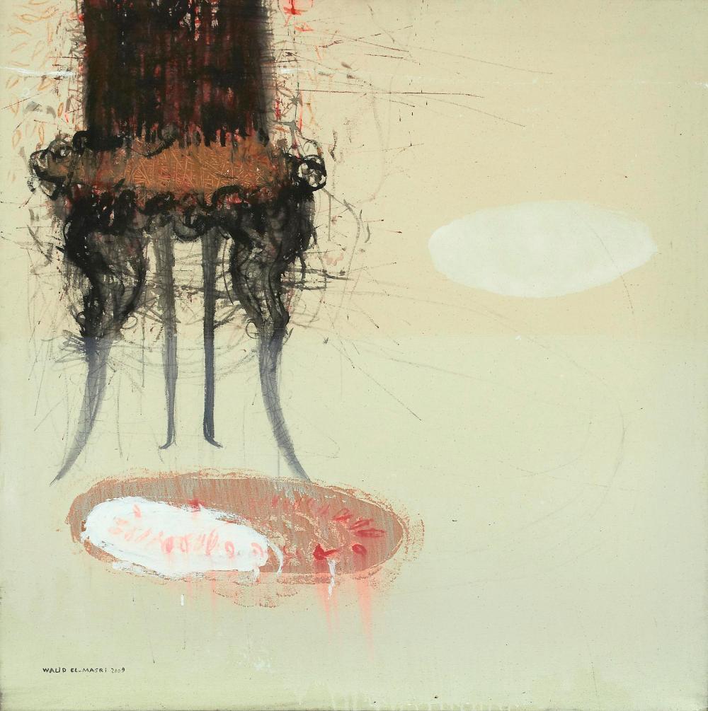 Walid El-Masri 'Chairs' 120 X 120 cm Mixed Media on Canvas, 2009