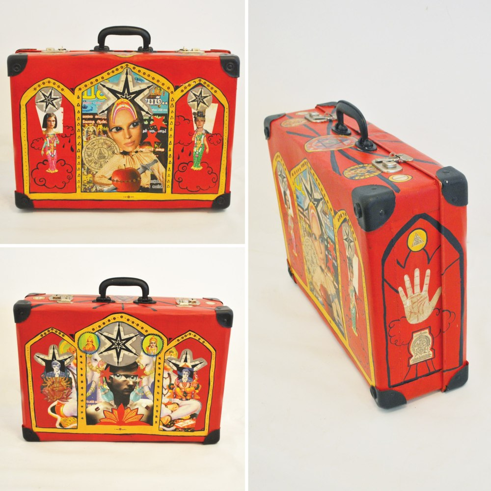 Miko Tennekoon 'Devotion' Acrylic paint and varnish on antique suitcase. 34 x 48 x 14 cm. 2012