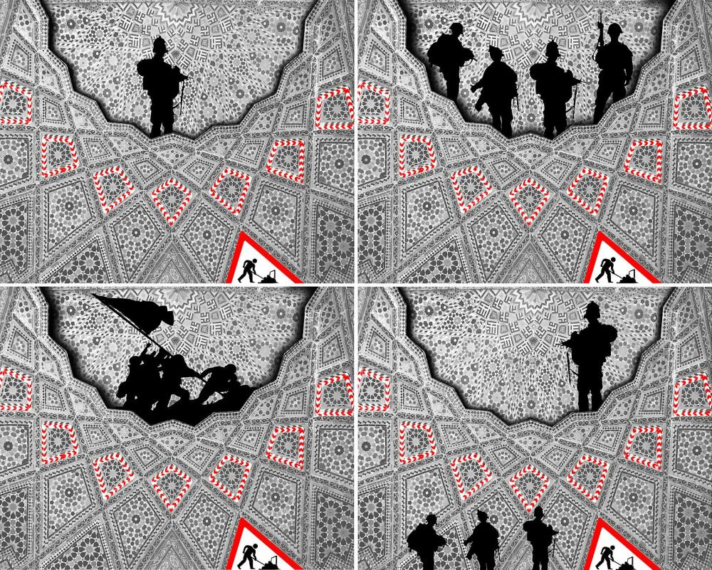 Lot 30: Abdulnasser Gharem, 'Men at Work I-IV', 2012, Handprinted Silkscreen Print on Somerset Tub Paper, Set of Four 115 x 150 cm. Courtesy: Ayyam Gallery