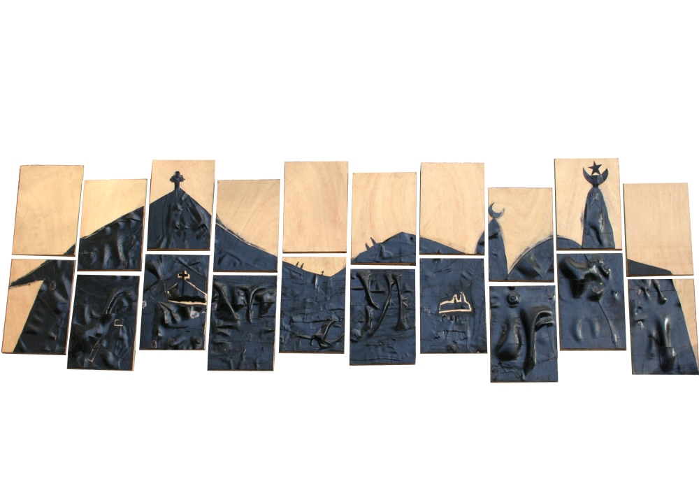 (Marker '13) Henri Sagna 'Un autre monde est possible'. Medium : Rubber and acrylic on wood. Courtesy: Raw Material Company