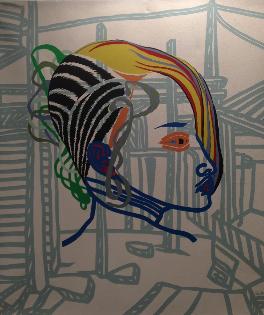 (Marker '13) artwork by Boris Nzebo, Acrylic on canvas. Courtesy: Doual'art and the artist.