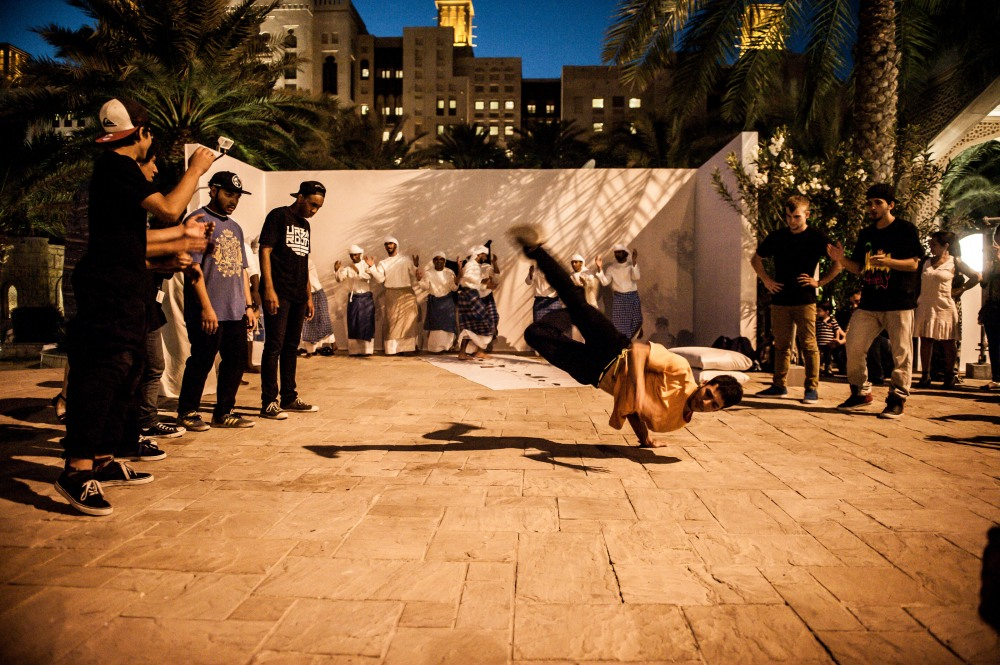 "Artist Joe Namy performing ""Transfiguration"".  Courtesy : Art Dubai"