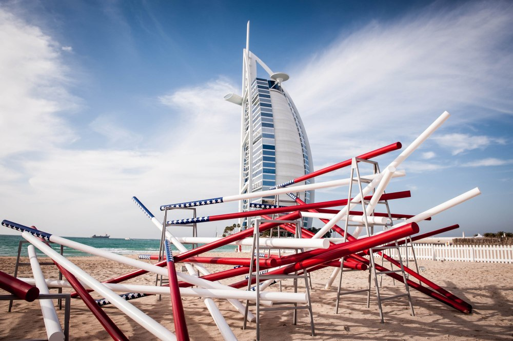 Mounir Fatmi 'I Like America' Sculpture on the Beach (Art Dubai Project) Courtesy: Art Dubai.