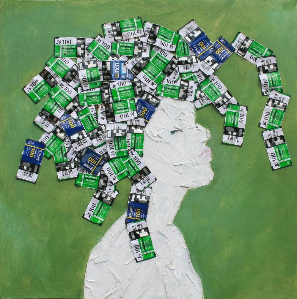 "(Marker'13) Taiye Idahor '""Head"" Series (No. 6)' Medium : Newspaper, film cartridge and acrylic paint on wood. Courtesy : Artist."