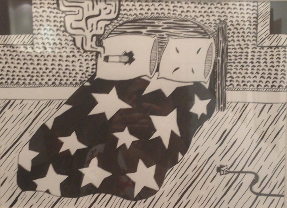 "Zebadiah Keneally ""Big Bed"" , ink on paper, 30.5x36 cm, 2013. Courtesy: Al Mahha Art Blog"