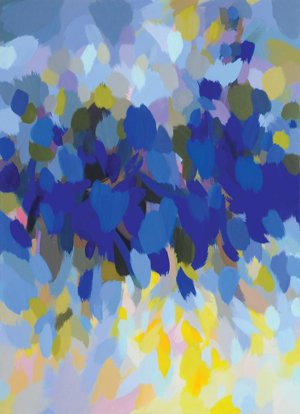 Samia Halaby, Blue Landscape, 2013, Acrylic on Linen Canvas,167.5 x 122 cm. Courtesy: Ayyam Gallery