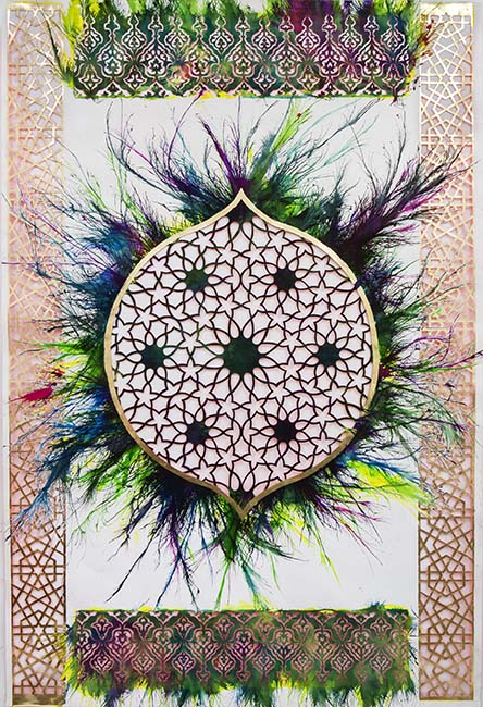 Sherin Guirguis, Untitled (Bab Huda), 2013, Mixed Media on hand cut paper, 274.32 x 182.88 cm