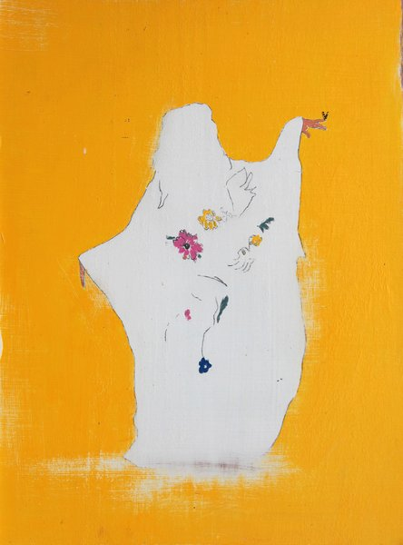 Girls with butterflies, 2013, Mixed media & varnish on wood, 39.9 x 29.7cm