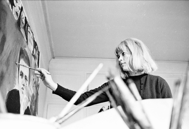 Pauline Boty painting Derek Marlowe with Unknown Ladies © Michael Seymour