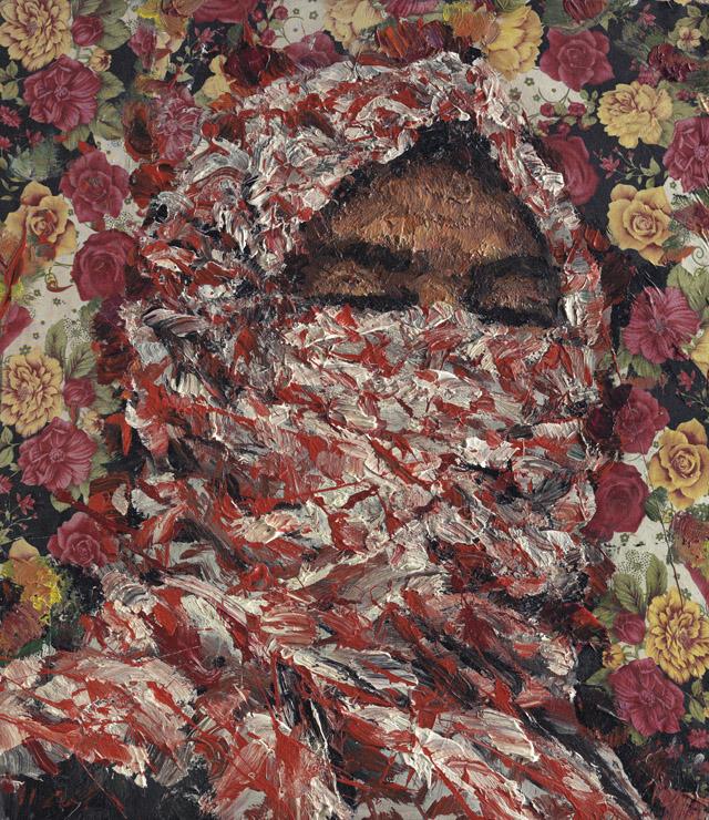 AYMAN BAALBAKI  'Al-Mulatham A' acrylic on printed fabric. 72x63 cm.
