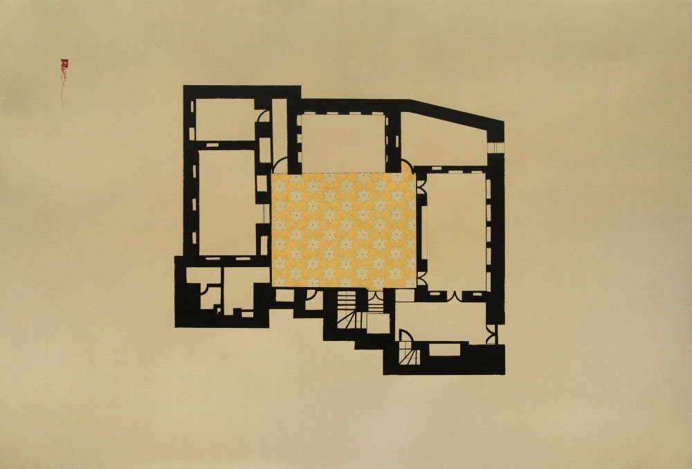 Hayv Kahraman,House in Kathemiya drawing,2014,76.2 x 111.7 cm, Courtesy: artist and The Third Line