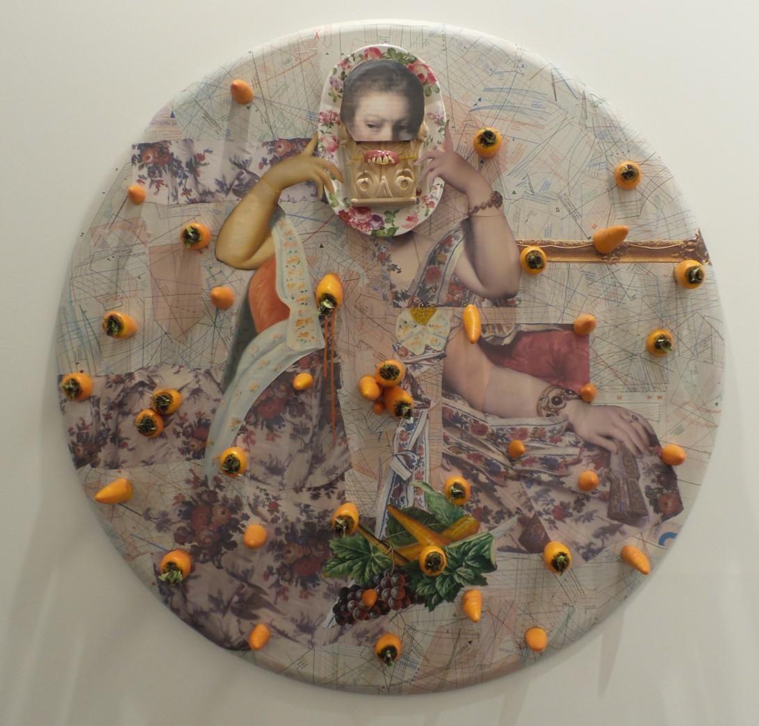 "Ramin Haerizadeh ""Carrot Cake, Carrot Cake Do You Have Any Nuts?"" 2014. Mixed Media & collage on Canvas. Diam 114cm. Gallery Isabelle Van Den Eynde. Art Dubai 2014 (Courtesy: Al Mahha Art)"