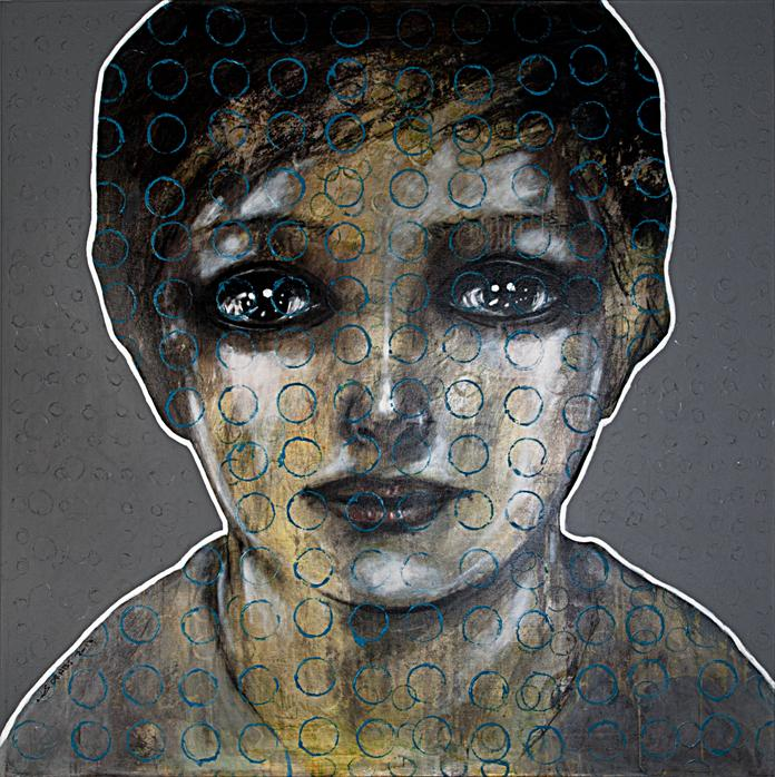 Mohannad Orabi 'Profile Portrait' 2013 Mixed media on canvas. Courtesy: Ayyam Gallery