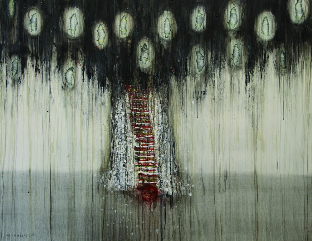 Walid El Masri 'Cocoon' 2014. Mixed mixed on canvas. 155 x 200 cm. Courtesy: Ayyam Gallery