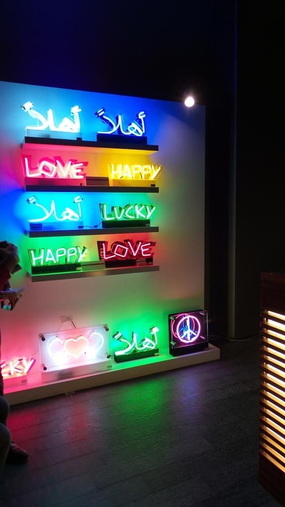 Neon fun! DIFC Art Night 2014. Courtesy Al Mahha Art