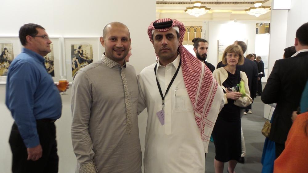 Saudi Artists: Rashed Al Shashai and Abdulnasser Gharem at Art Dubai Patron Preview. Courtesy to Al Mahha Art