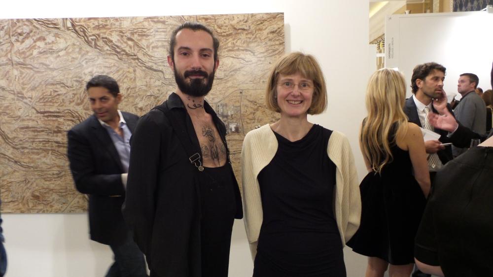 Artist Sayed Rajab and Janet Rady at Art Dubai Patron Preview. Courtesy to Al Mahha Art