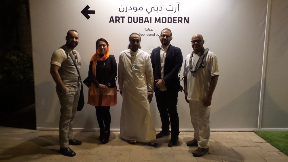 The amazing masterminds behind Arabian Wings: Mohammed Bahrawi & Najlaa Felemban posing with Hamad Al Saab, Aziz Daoud & Khalid Bin Afif for Al Mahha Art
