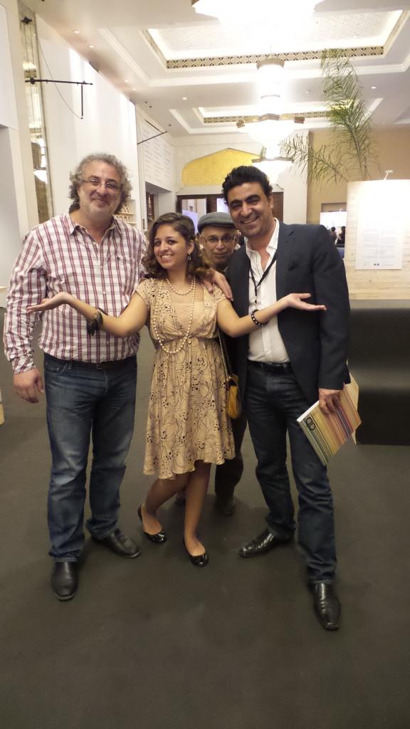 Al Mahha Art Founder, Mashaael Basheer standing in between Artists Ismail Rifai and Thaer Helal at Art Dubai Patron Preview. Courtesy to Al Mahha Art