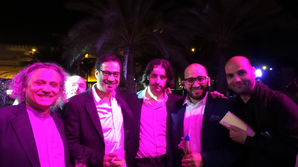 Artist Mohamed Abouelnaga, Mark Hachem, Steve Sabella, Abed Al Kadiri and Samer Yamani at Art Dubai Patron Preview. Courtesy to Al Mahha Art