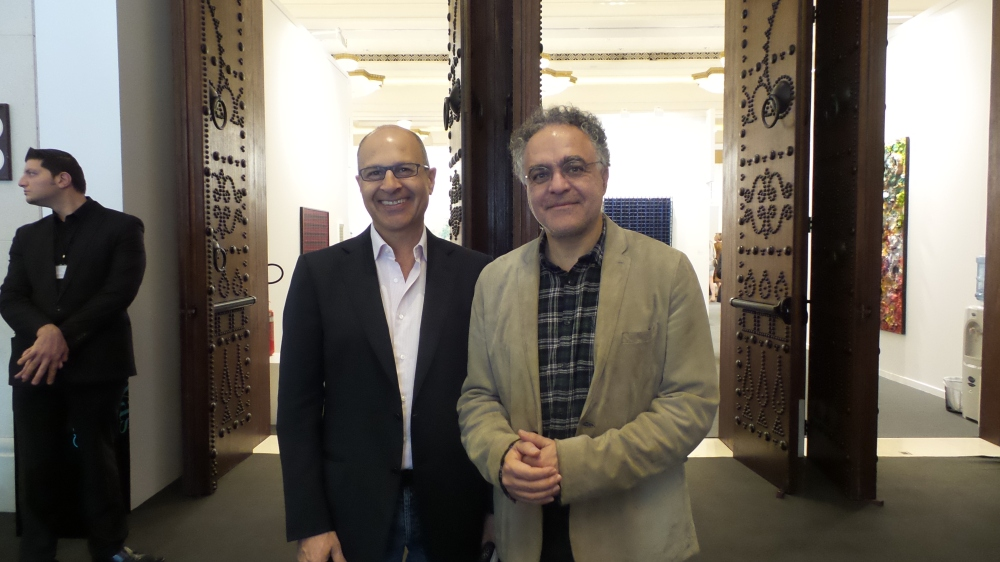 One of most influencing and supporting patrons in Middle East Omar Hunidi and one of Lebanon's pioneer architects and favorite artist Nadim Karam posing for Al Mahha Art