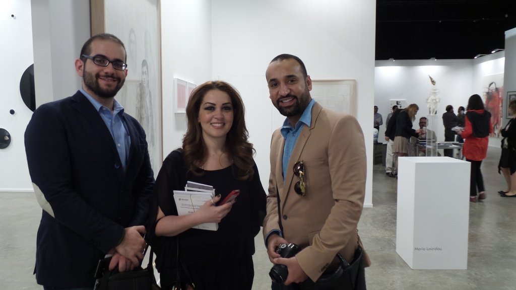 Promising artist Aziz Daoud, Jordanian artist Shereen Audi and No.1 Pop Artist in Kuwait Hamad Alsaab sharing a big smile to Al Mahha Art