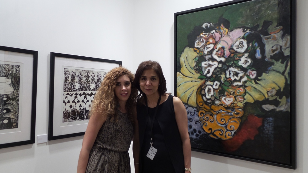 Artist Louma Rabbah and Albareh Art Gallery Founder Hayfa Aljishi at Art Modern. Courtesy to Al Mahha Art