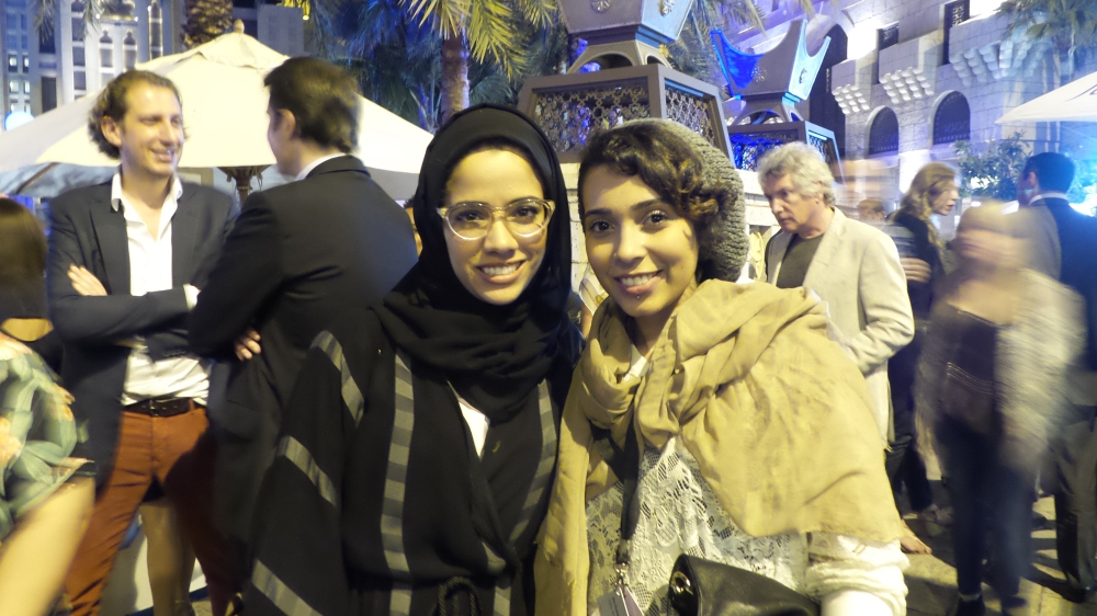 Great energy spreader Afra Bin Dhaher and promising Emirati artist Sara Al Haddad. Courtesy to Al Mahha Art