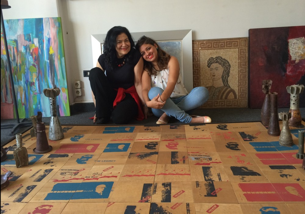 Always beautiful Ginane Makki Bacho and Al Mahha Art Founder, Mashaael Basheer smiling around bullets and wars memories