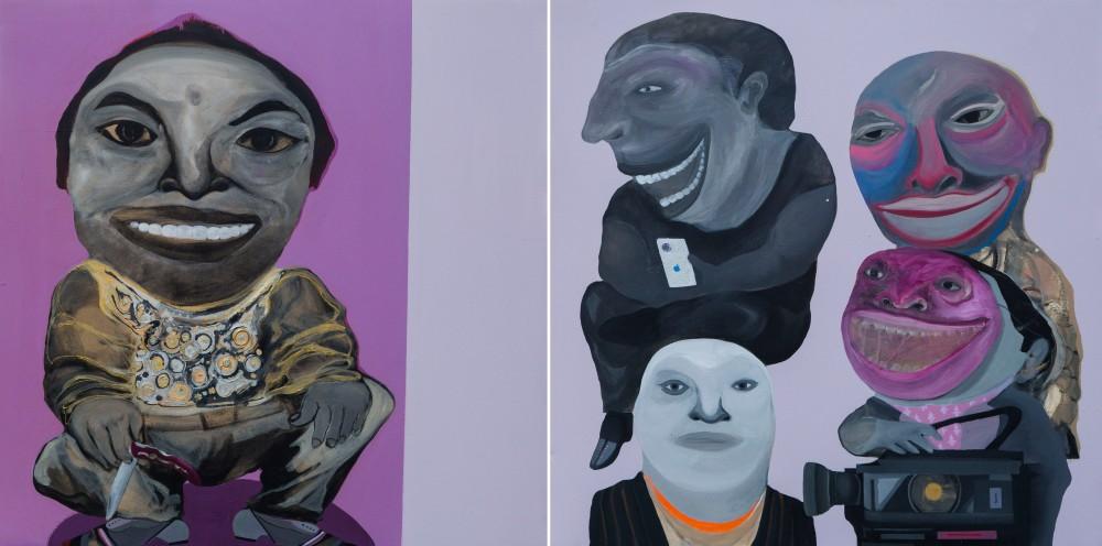 Kais Salman, Media, 2014. Acrylic on canvas 120 X 240 cm (diptych). Courtesy to Ayyam Gallery